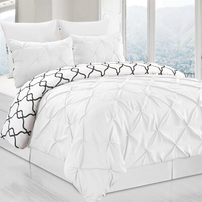 Inni 3 Piece Reversible Duvet Cover Set Color: White, Size: King