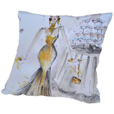 Lora Champagne Bubbles Throw Pillow Size: 16 H x 16 W x 2 D
