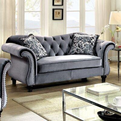Tabitha Loveseat Upholstery: Gray