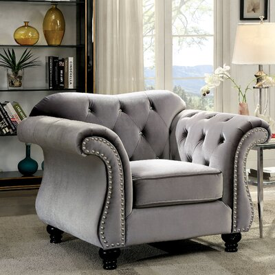 Tabitha Flannelette Arm Chair Color: Gray