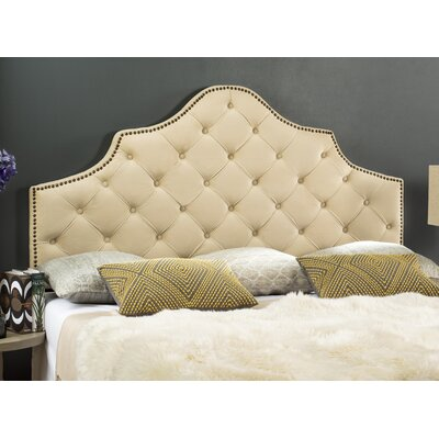 Christophe Upholstered Panel Headboard Size: King, Color: Buckwheat, Upholstery: Velvet