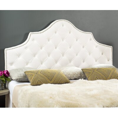 Christophe Upholstered Panel Headboard Size: Queen, Color: White, Upholstery: Velvet