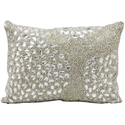 Hertzog Beaded All Over Lumbar Pillow Color: Silver