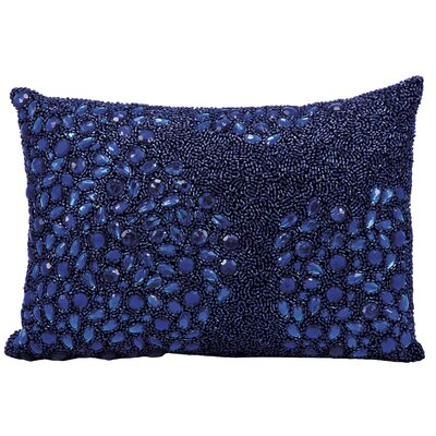 Hertzog Beaded All Over Throw Pillow Color: Navy