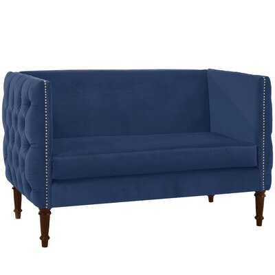 Seilles Nail Button Tufted Chesterfield Settee Upholstery: Navy