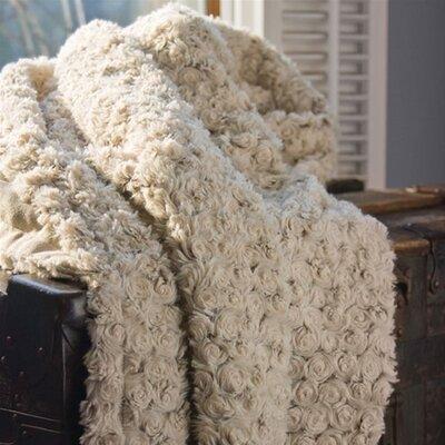 Sleaford Rose Petal Fur Throw Color: Beige