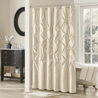 Benjamin Shower Curtain Color: Ivory, Size: 72 H x 72 W