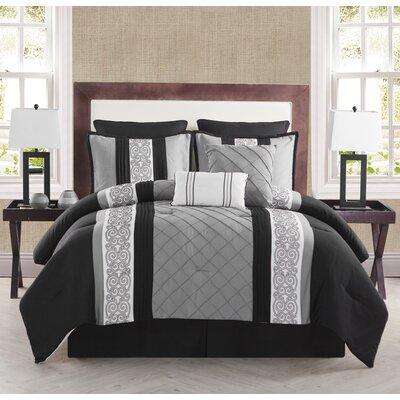 Pisek 8 Piece Comforter Set Color: Black / White, Size: Queen