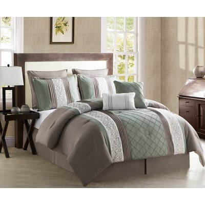 Pisek 8 Piece Comforter Set Color: Green / Chocolate, Size: Queen