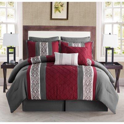 Pisek 8 Piece Comforter Set Color: Charcoal, Size: Queen