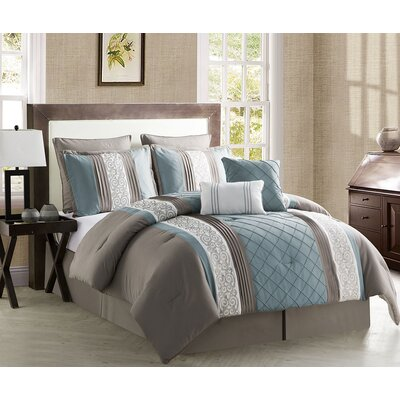 Pisek 8 Piece Comforter Set Size: King, Color: Blue / Taupe