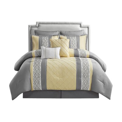 Pisek 8 Piece Comforter Set Size: King, Color: Yellow