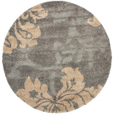 Marybell Shag Grey/Beige Area Rug Rug Size: Round 4