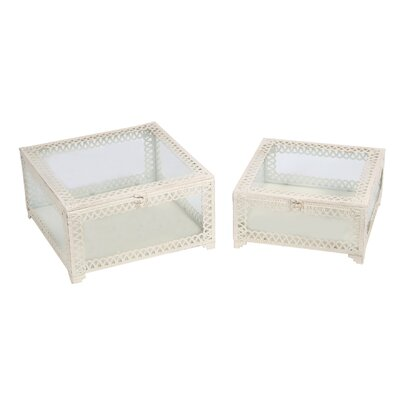2 Piece Square Box Set Finish: White