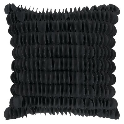 Textured Circle Throw Pillow Color: Black, Size: 22