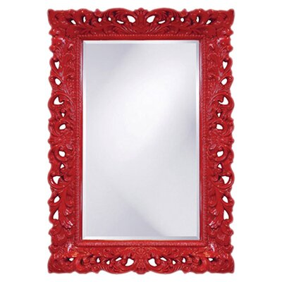 Luise Wall Mounted Rectangle Accent Mirror Finish: Red
