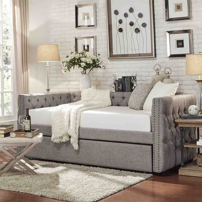 Ghislain Daybed with Trundle Upholstery: Gray