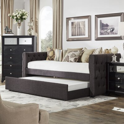 Ghislain Daybed with Trundle Upholstery: Dark Gray