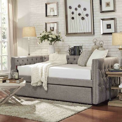 Ghislain Daybed with Trundle Color: Gray Linen