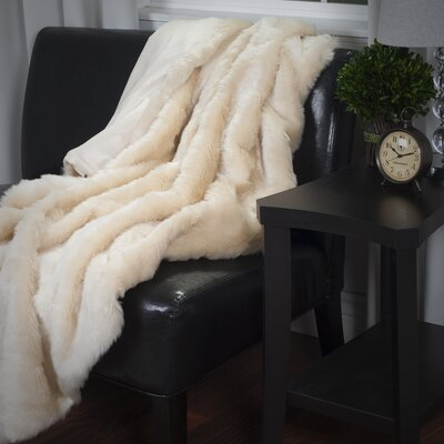 Bertha Faux Fur Throw Blanket Color: Beige