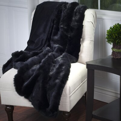 Bertha Faux Fur Throw Blanket Color: Black