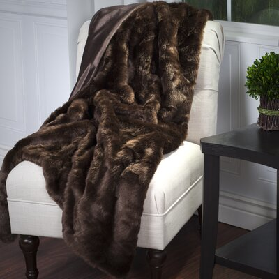 Bertha Faux Fur Throw Blanket Color: Brown