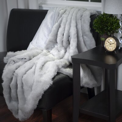 Bertha Faux Fur Throw Blanket Color: Gray