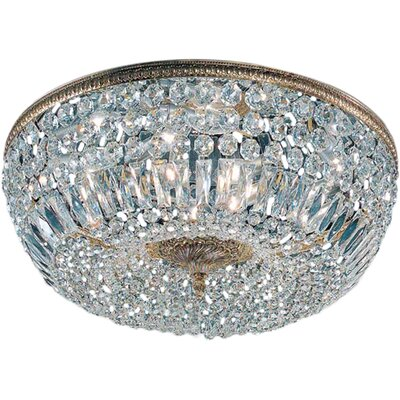 Hailsham Light Semi-Flush Mount Size: 8 H x 14 W x 14 D, Finish: Olde World Bronze, Crystal Type: Italian