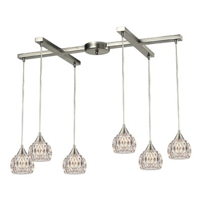 Appleton 6-Light Satin Nickel Kitchen Island Pendant