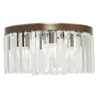 Caroline 5-Light Crystal Flush Mount Finish: Palacial Bronze