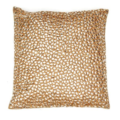 Adalwine Jewel Beads and SIlk Dupioni Lumbar Pillow Size: 10 H x 10 W, Color: Gold