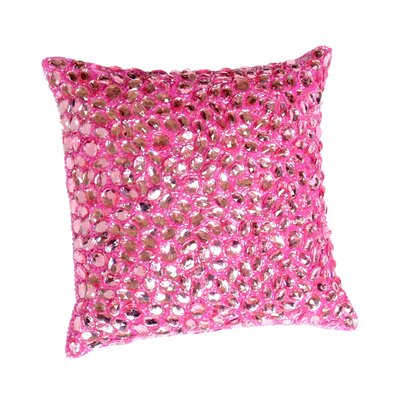 Adalwine Jewel Beads and SIlk Dupioni Lumbar Pillow Size: 10 H x 10 W, Color: Berry