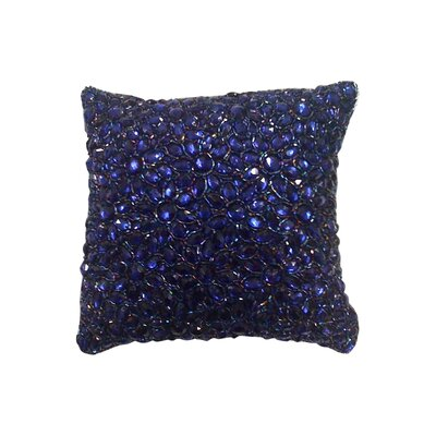 Adalwine Jewel Beads and SIlk Dupioni Lumbar Pillow Size: 10 H x 10 W, Color: Indigo