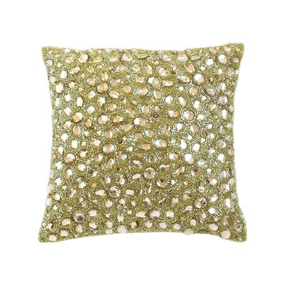 Adalwine Jewel Beads and SIlk Dupioni Lumbar Pillow Size: 10 H x 10 W, Color: Sage