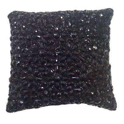 Adalwine Jewel Beads and SIlk Dupioni Lumbar Pillow Size: 10 H x 10 W, Color: Caviar