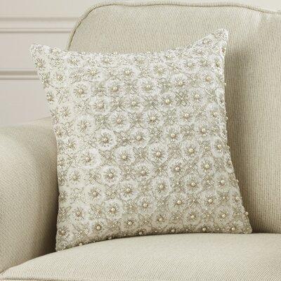 Hertzog Beaded Flower Cotton Throw Pillow