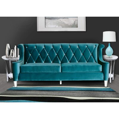 Carressa Velvet Sofa Upholstery: Royal Blue