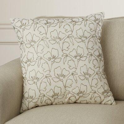 Rhine Beaded Wild Flowers Cotton Throw Pillow