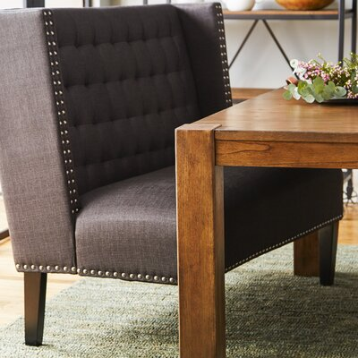 Aline Upholstered Banquette Bench in Charcoal
