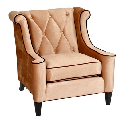 Winslet Velvet Wingback Arm Chair Upholstery: Cream
