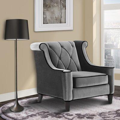Carressa Velvet Wingback Armchair Upholstery: Gray