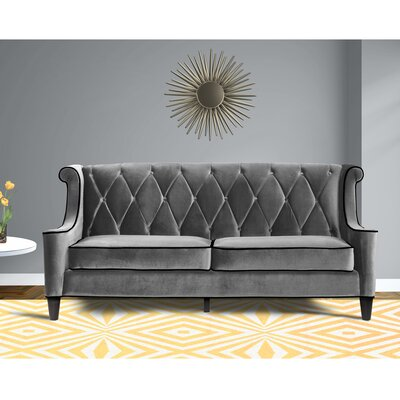Carressa Velvet Sofa Upholstery: Gray