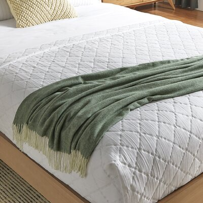 Kaya Herringbone Throw Blanket Color: Olive