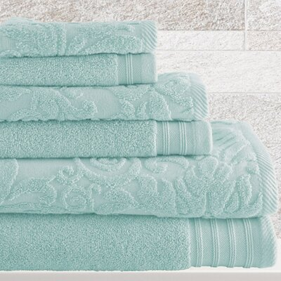 Jarred 6 Piece Cotton Towel Set Color: Blue