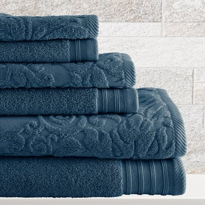 6 Piece Cotton Towel Set Color: Denim