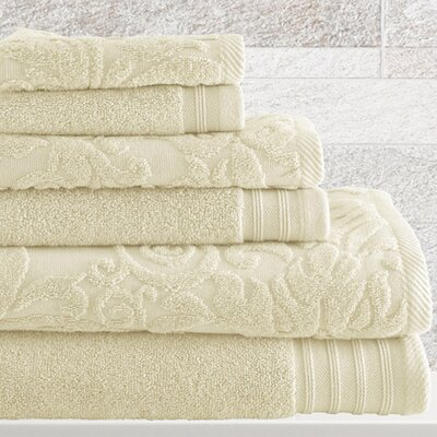 6 Piece Cotton Towel Set Color: Ivory