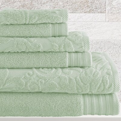 6 Piece Cotton Towel Set Color: Jade
