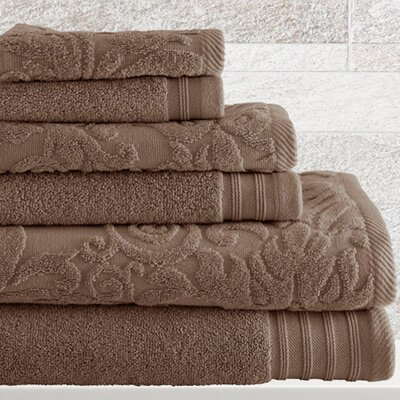 6 Piece Cotton Towel Set Color: Taupe