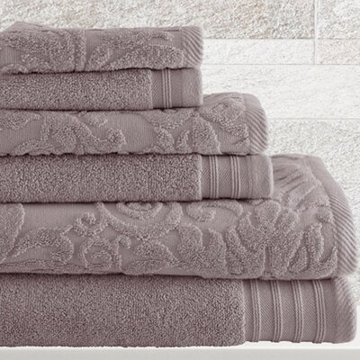6 Piece Cotton Towel Set Color: Gray Violet