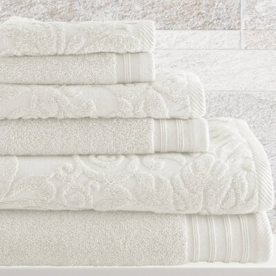 6 Piece Cotton Towel Set Color: White